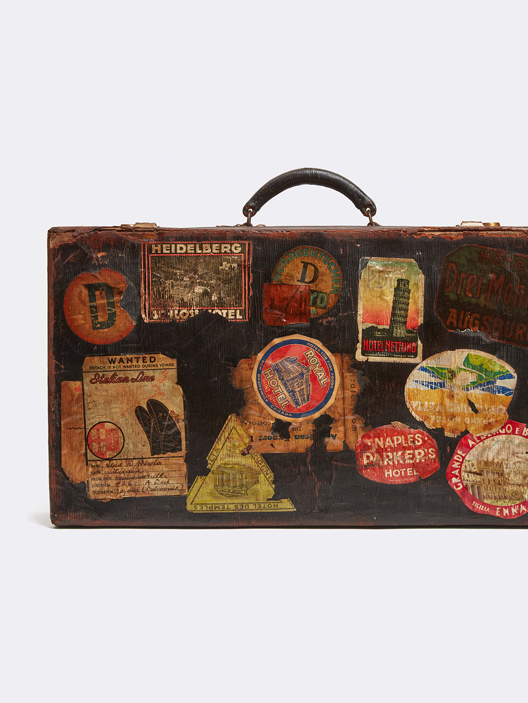 Mark Cross Archive Antique Leather Suitcase Chocolate Detail