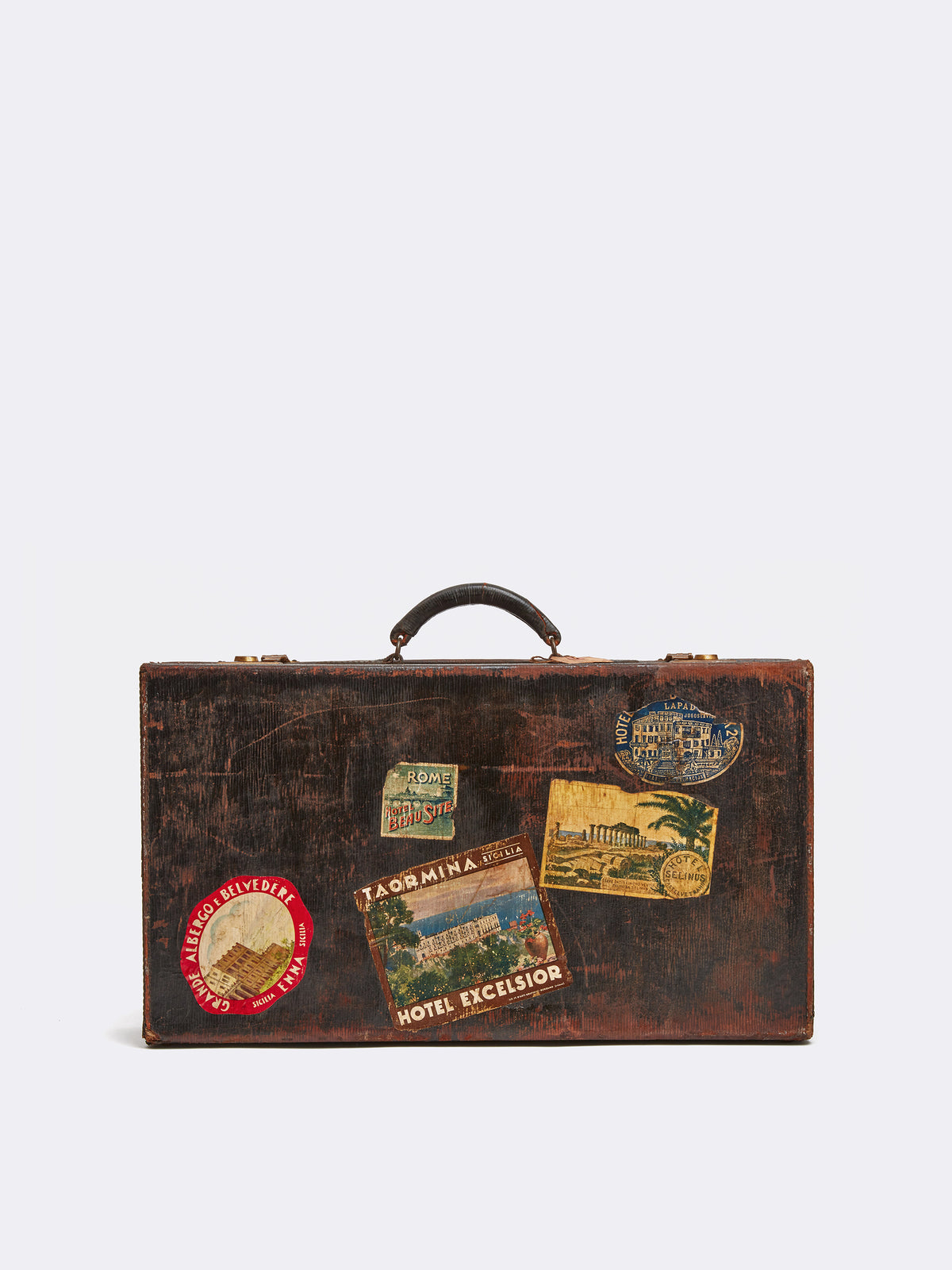 Mark Cross Archive Antique Leather Suitcase Chocolate Back
