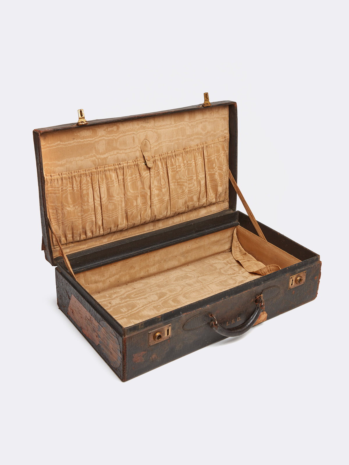 Mark Cross Archive Antique Leather Suitcase Chocolate Interior