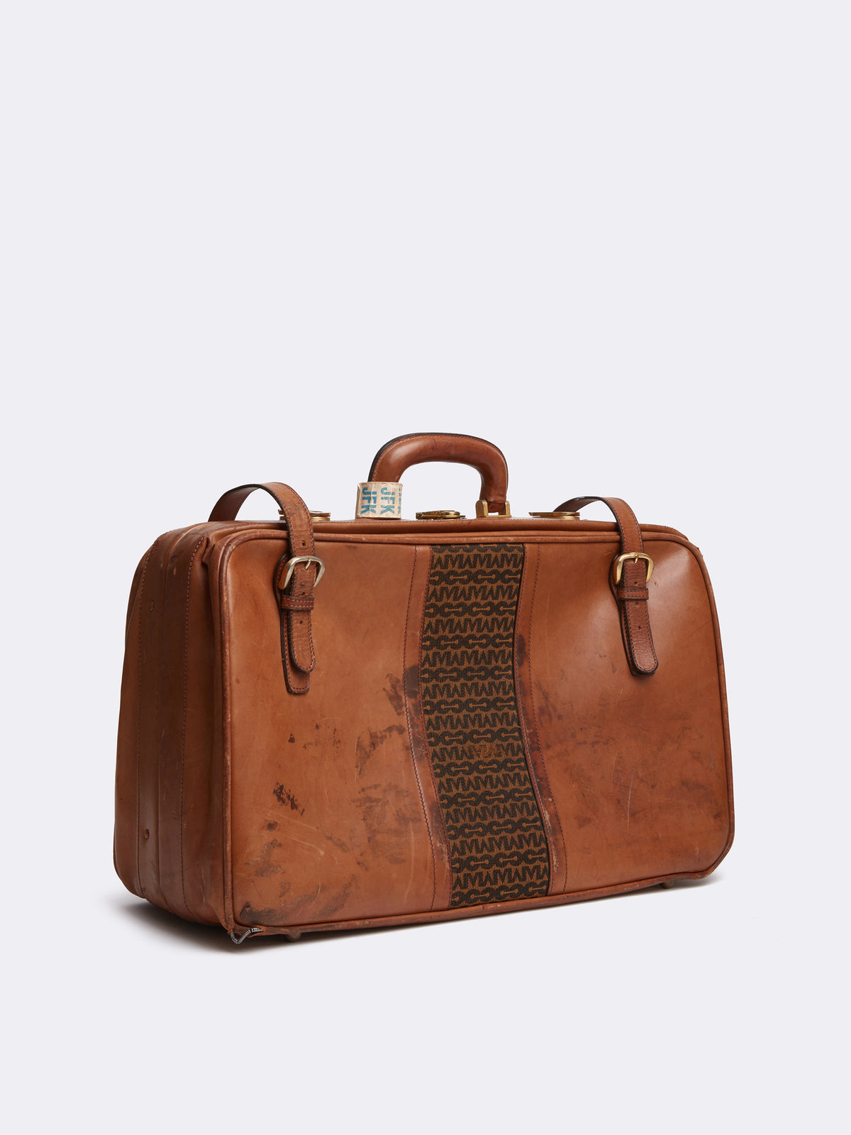 Mark Cross Archive Leather Luggage Travel Bag Cognac Side