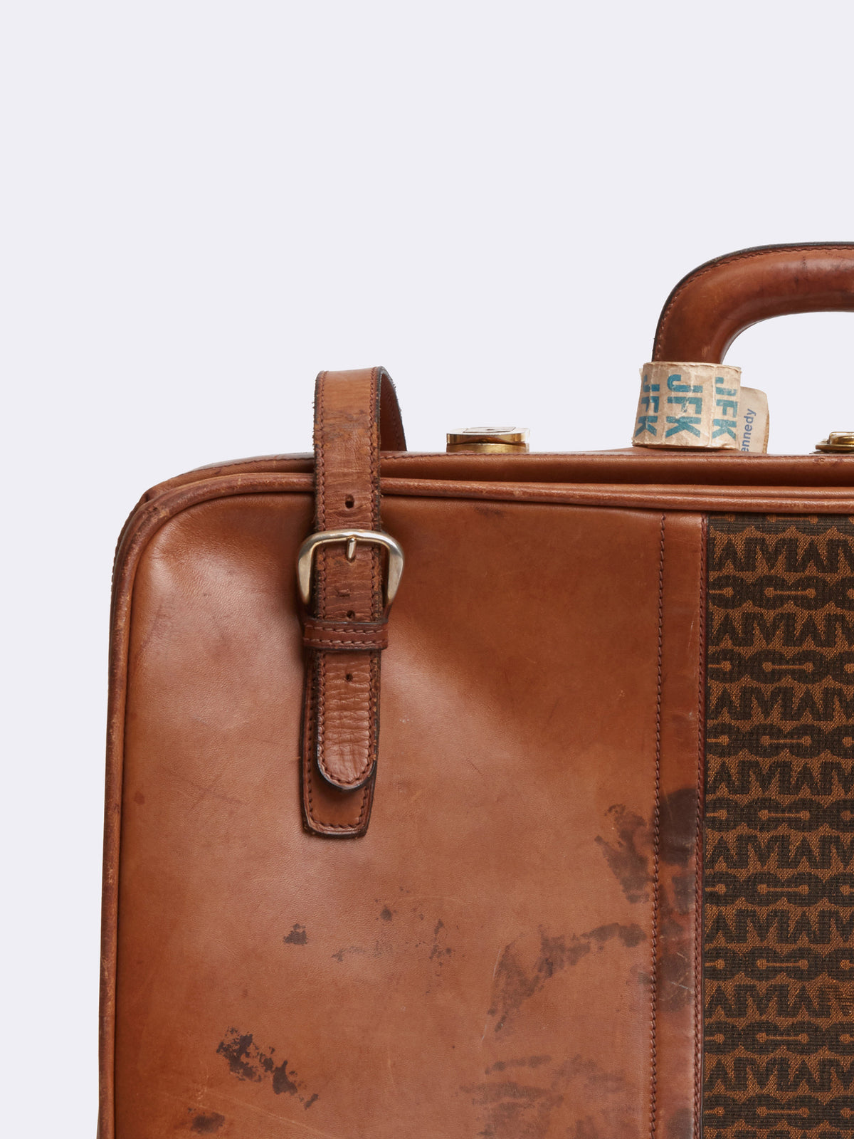 Mark Cross Archive Leather Luggage Travel Bag Cognac Detail