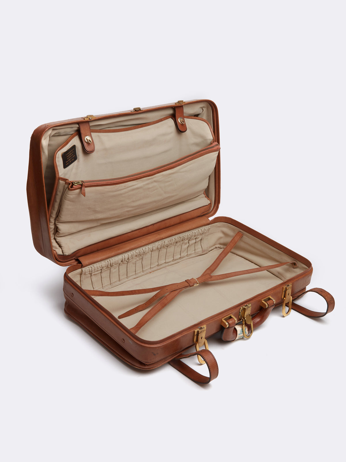 Mark Cross Archive Leather Luggage Travel Bag Cognac Interior