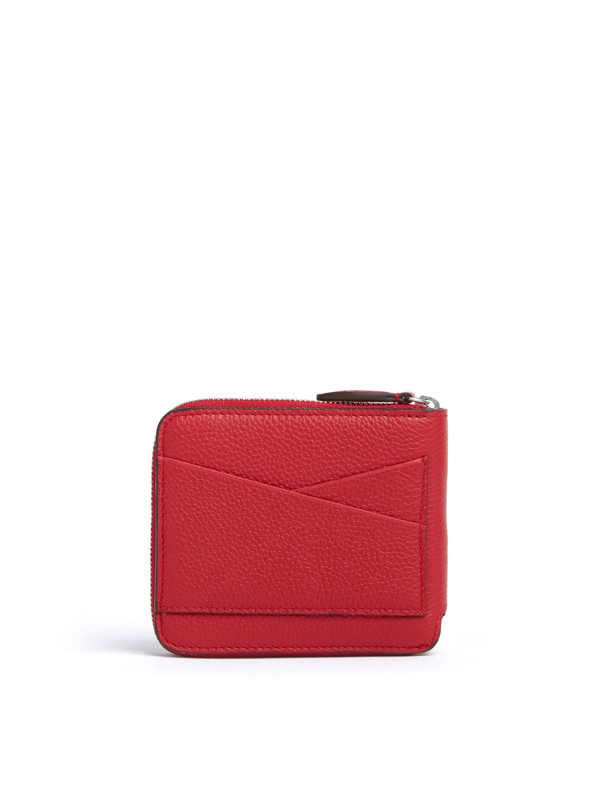 Mark Cross Bi-Fold Leather Zip Wallet Tumbled Grain Mc Red Back