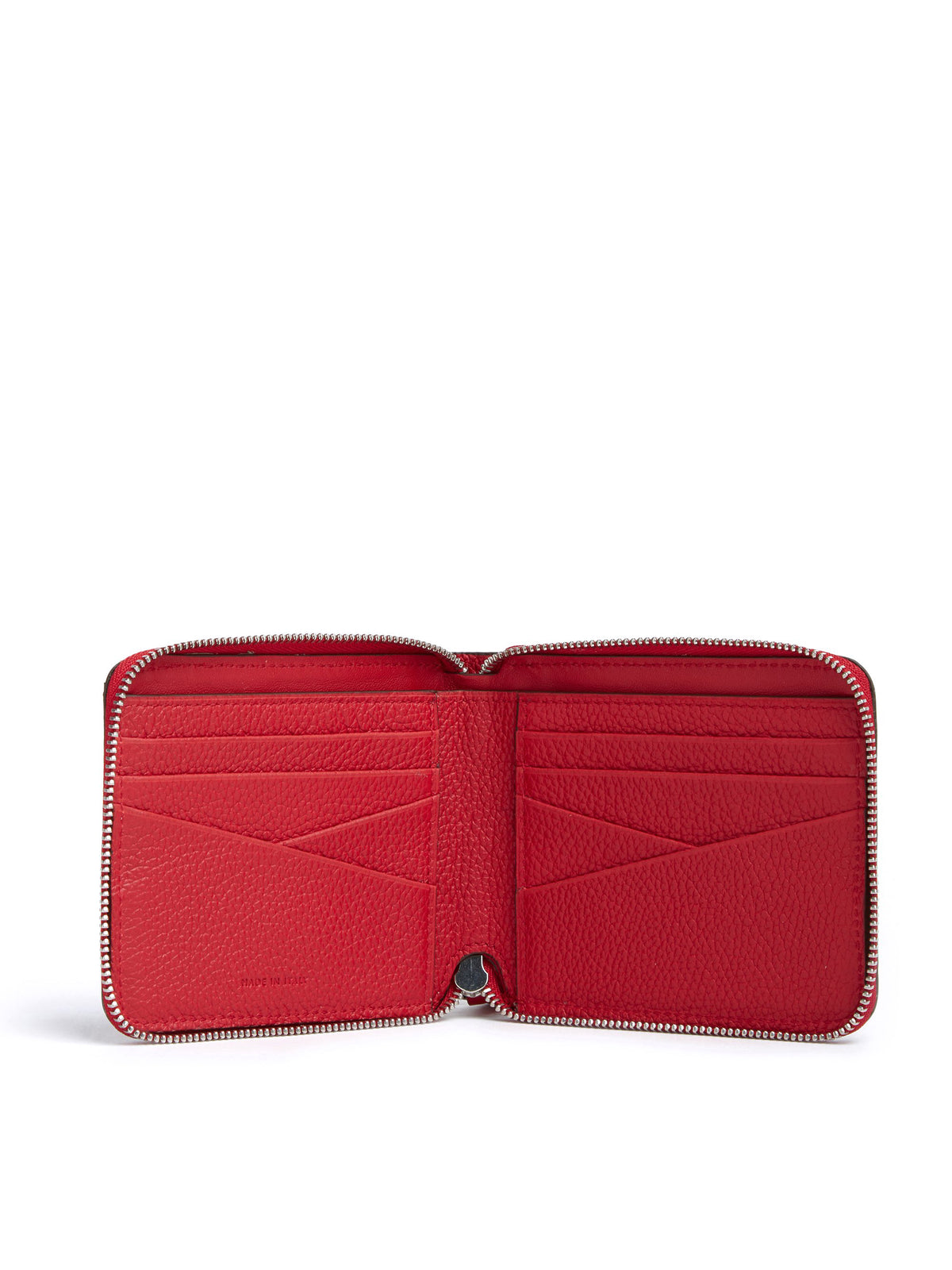 Mark Cross Bi-Fold Leather Zip Wallet Tumbled Grain Mc Red Interior