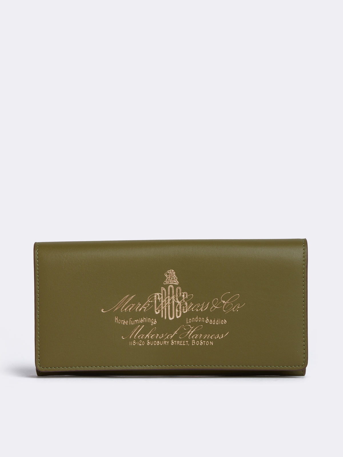 Mark Cross Meadow Historical Stamp Leather Wallet Soft Calf Avocado Front