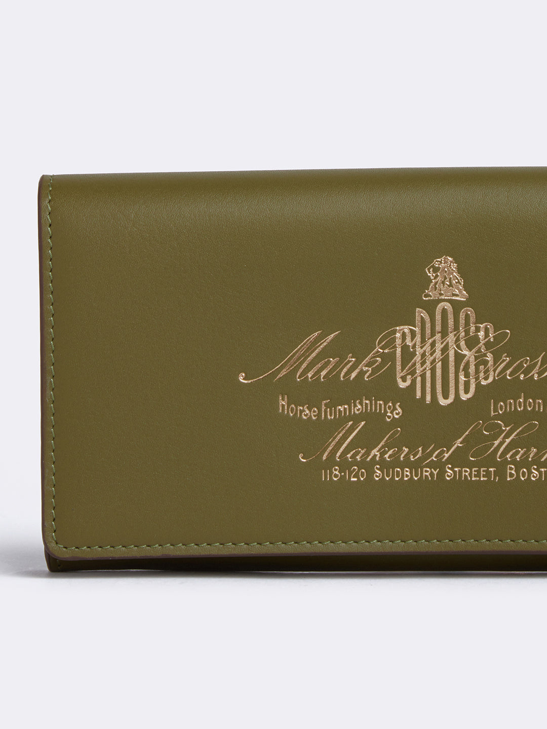 Mark Cross Meadow Historical Stamp Leather Wallet Soft Calf Avocado Detail