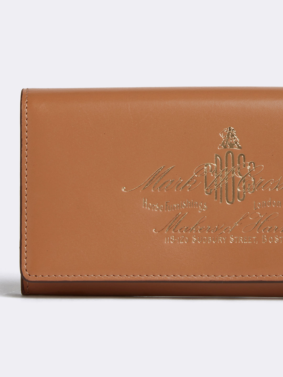 Mark Cross Meadow Historical Stamp Leather Wallet Soft Calf Beige Detail