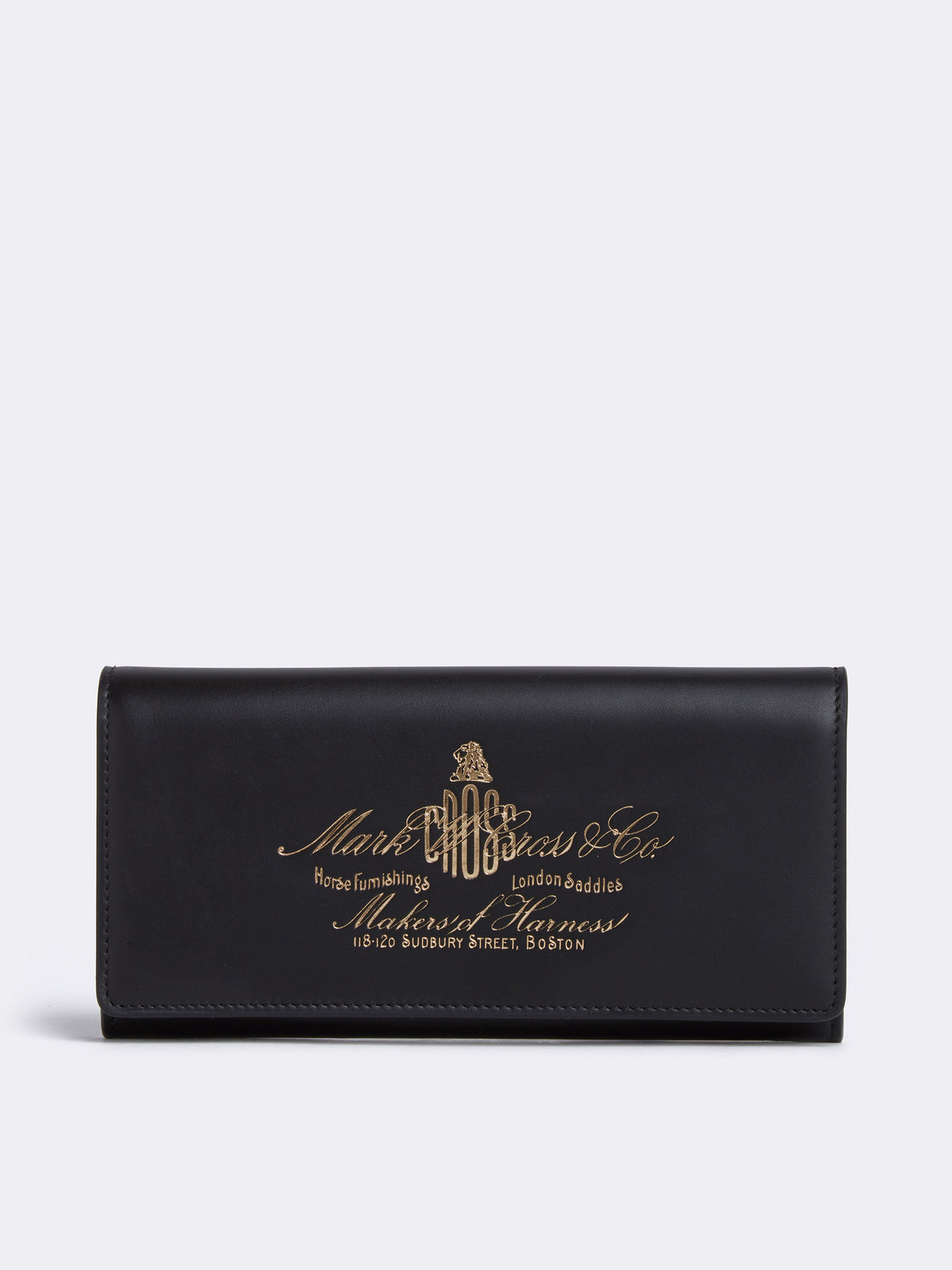 Mark Cross Meadow Historical Stamp Leather Wallet Soft Calf Black Front
