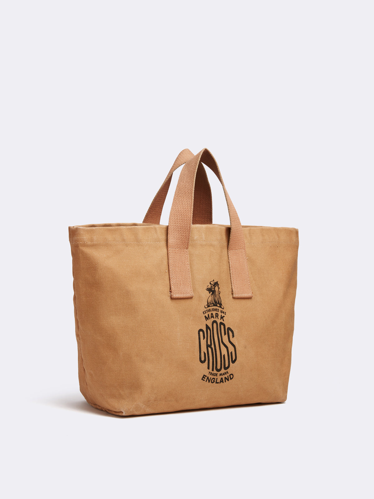 Mark Cross Archive Canvas Tote Bag Tan Side