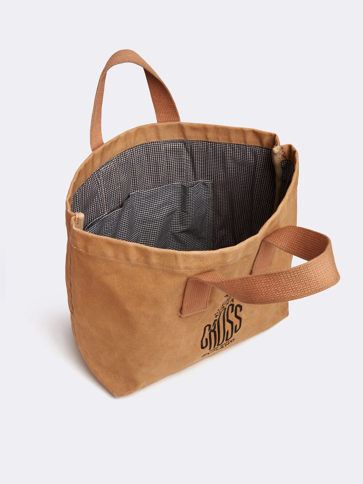 Mark Cross Archive Canvas Tote Bag Tan Interior
