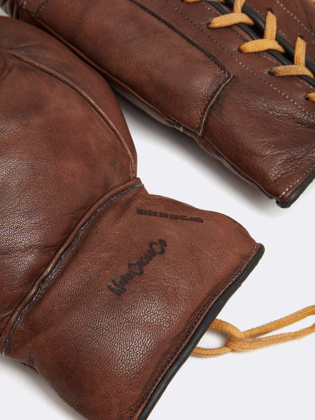 Mark Cross Leather Boxing Gloves Chocolate Detail