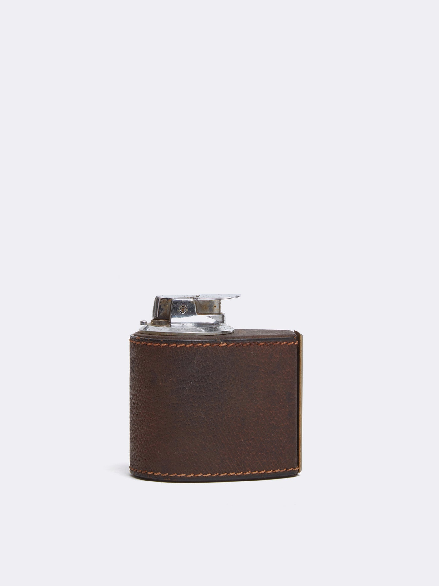 Mark Cross Archive Leather Table Lighter Chocolate Front