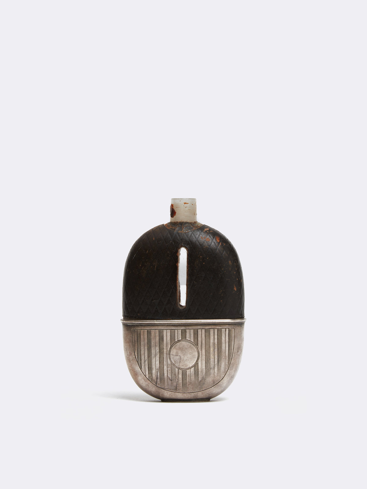 Archive Antique Metal And Leather Flask