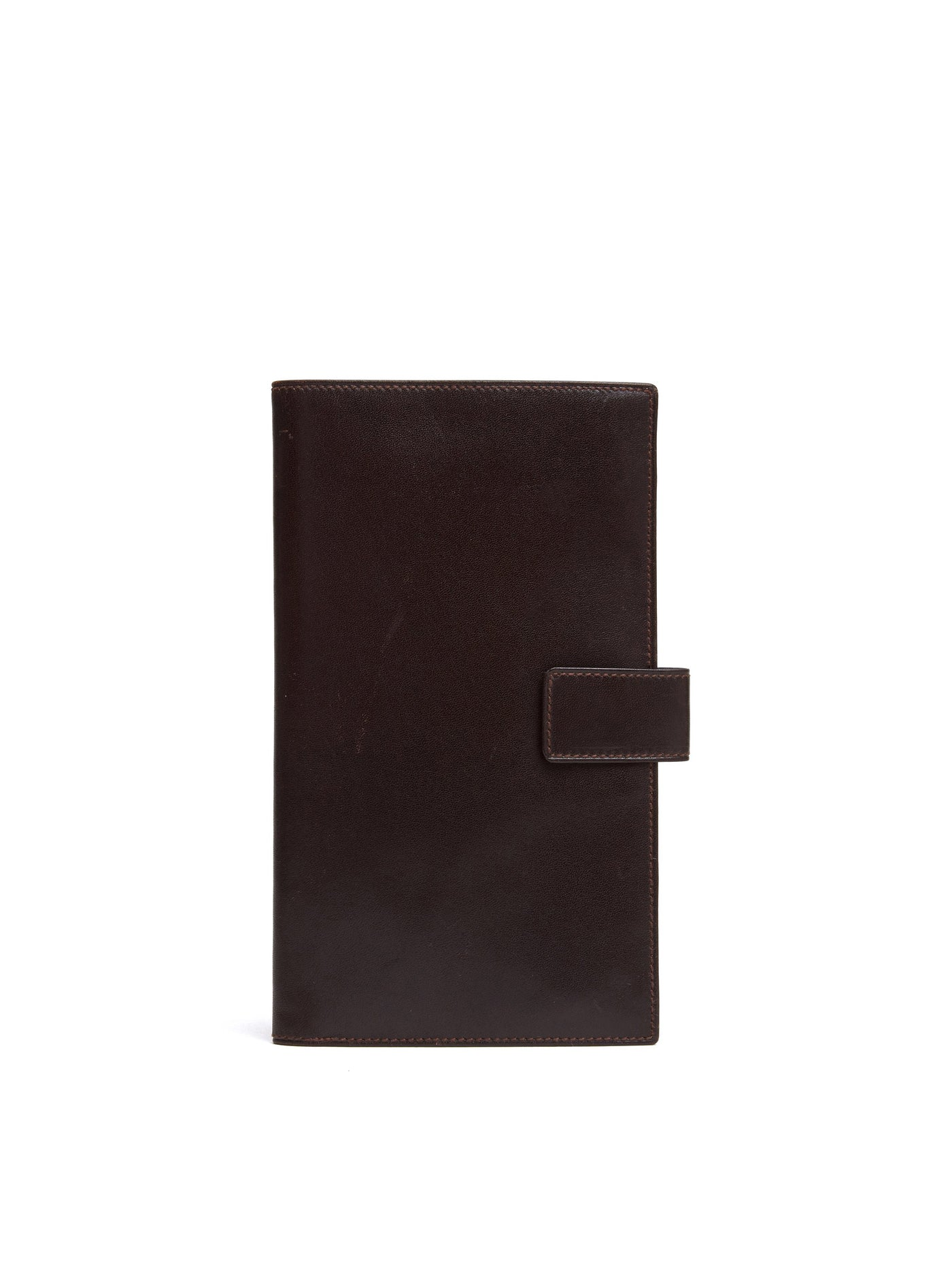 Mark Cross Vintage Leather Travel Wallet Chocolate Front