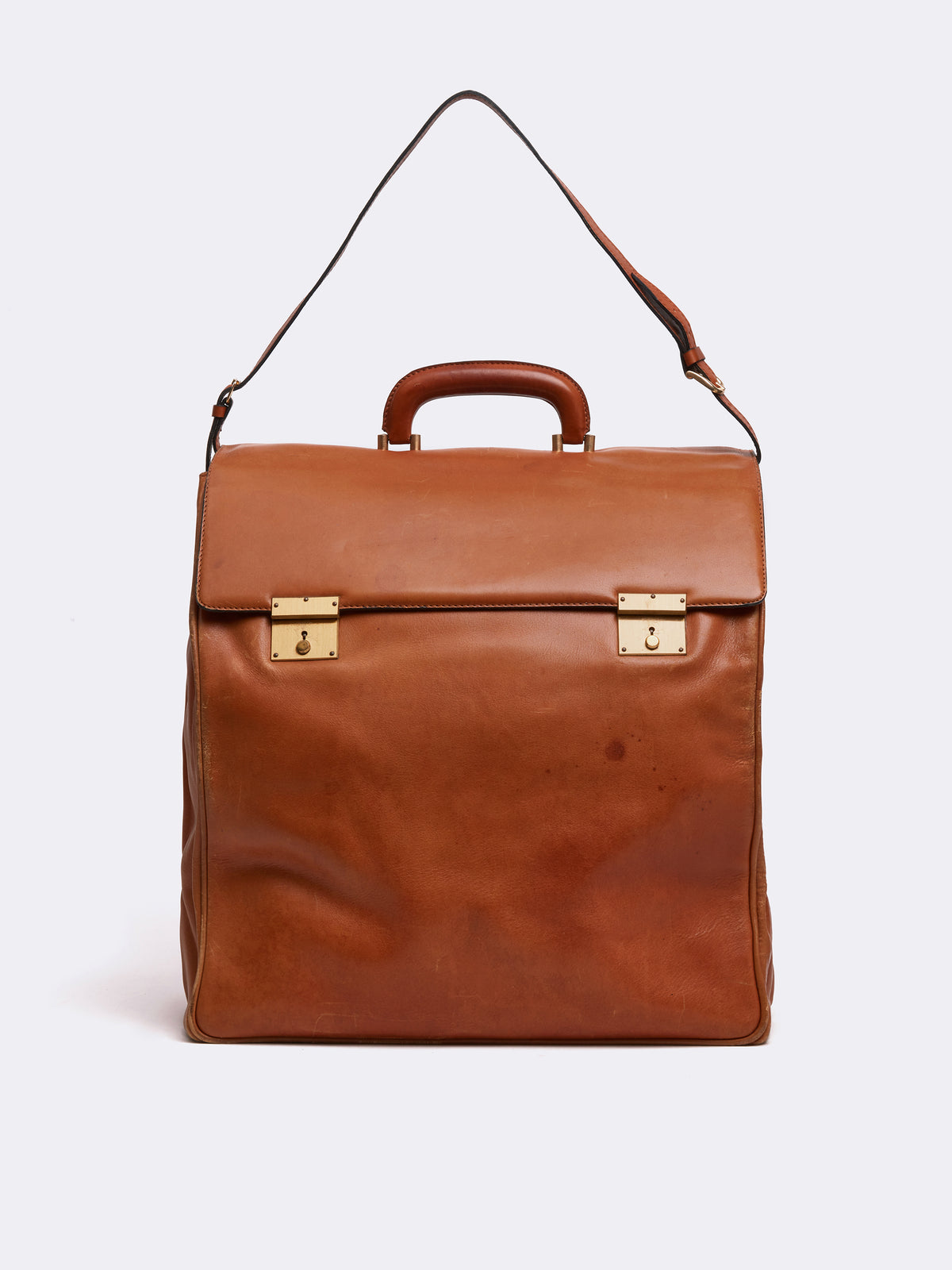 Mark Cross Archive Leather Travel Bag Cognac Front