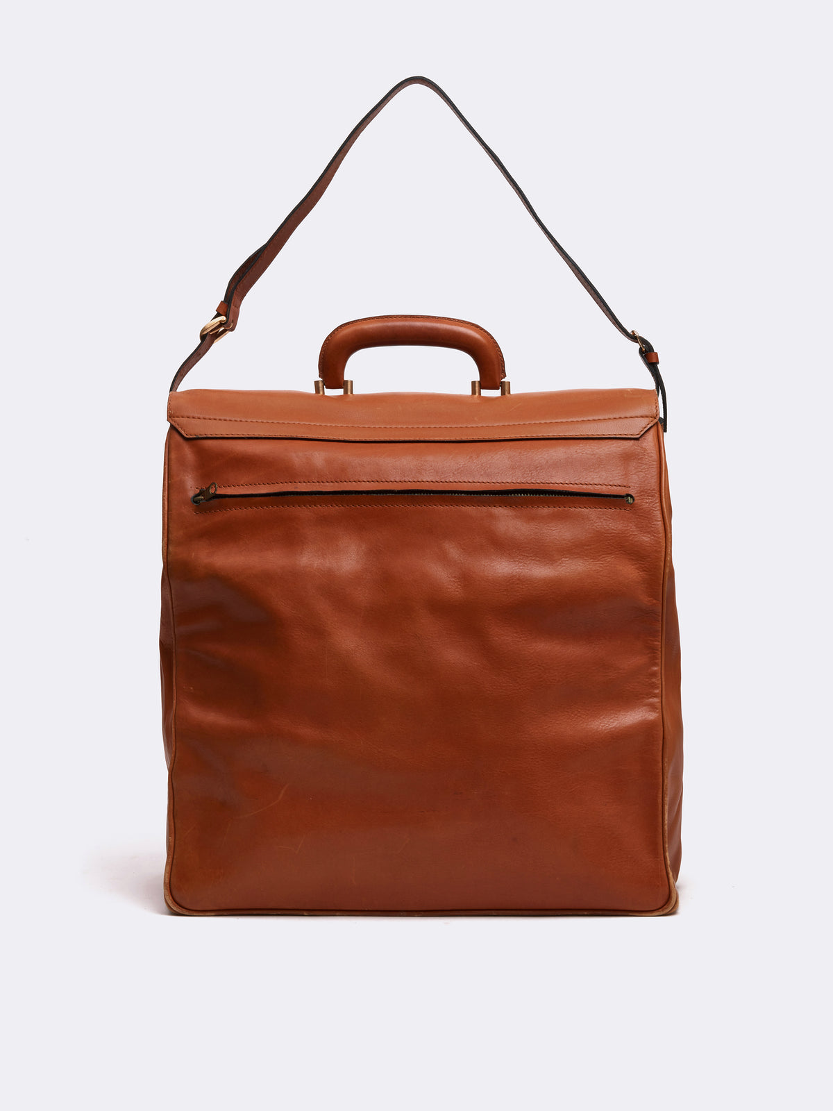 Mark Cross Archive Leather Travel Bag Cognac Back