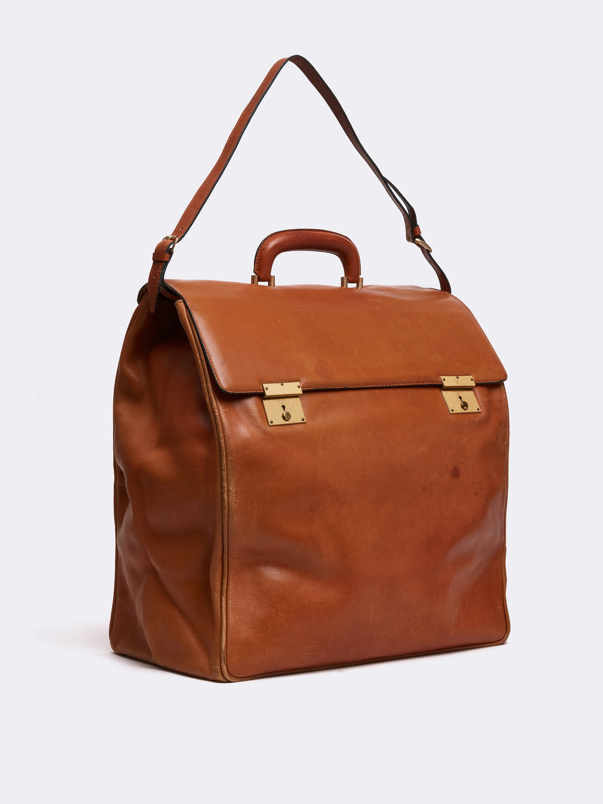Mark Cross Archive Leather Travel Bag Cognac Side