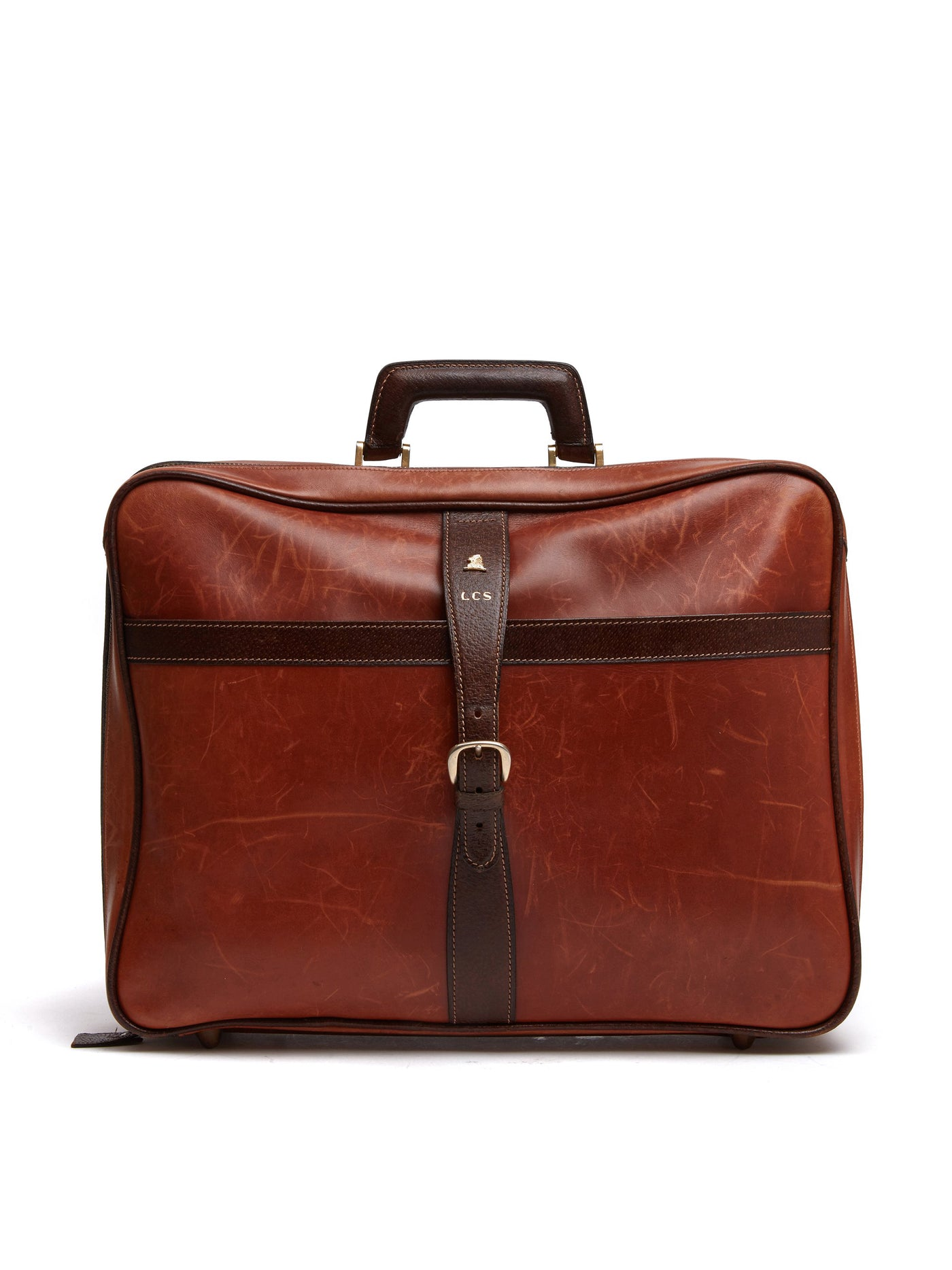Mark Cross Vintage Leather Suitcase Chocolate Front