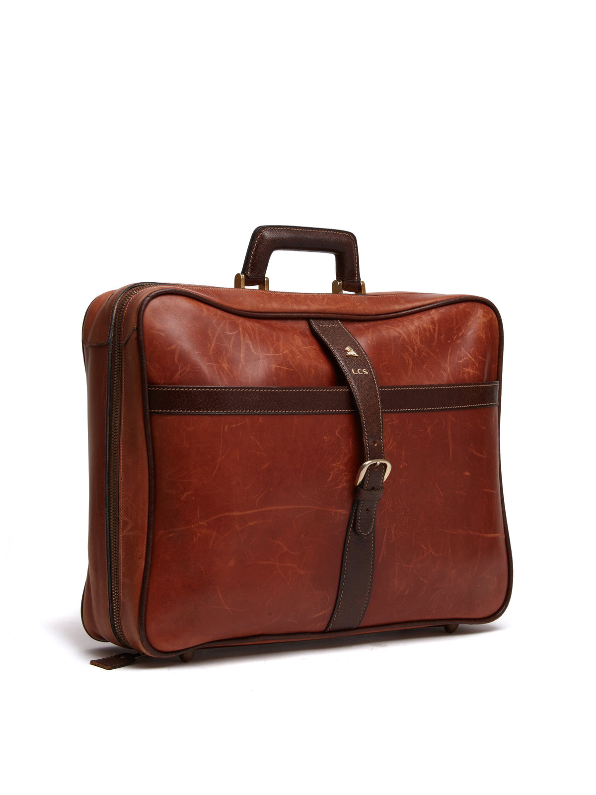Mark Cross Vintage Leather Suitcase Chocolate Side
