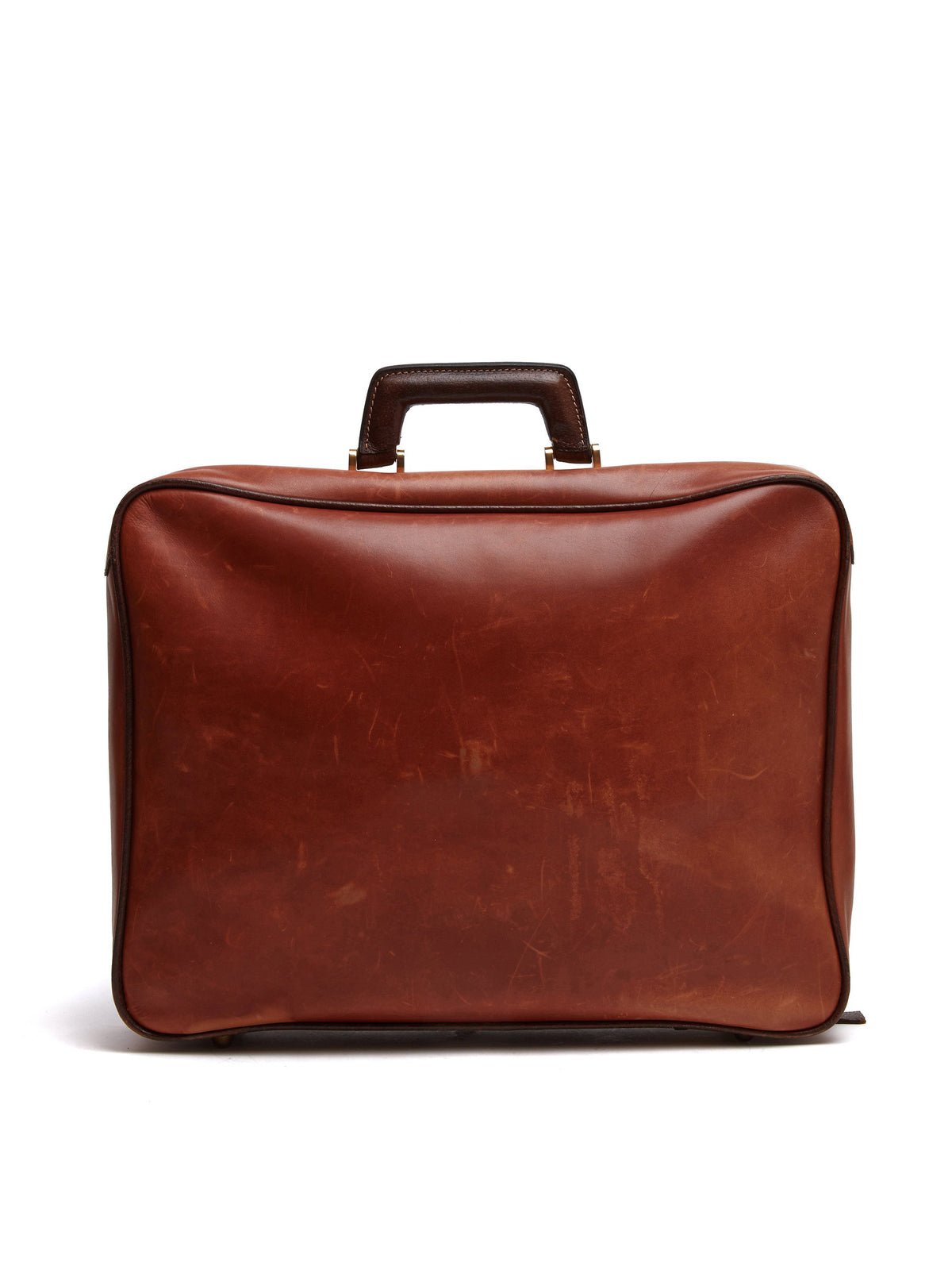 Mark Cross Vintage Leather Suitcase Chocolate Back