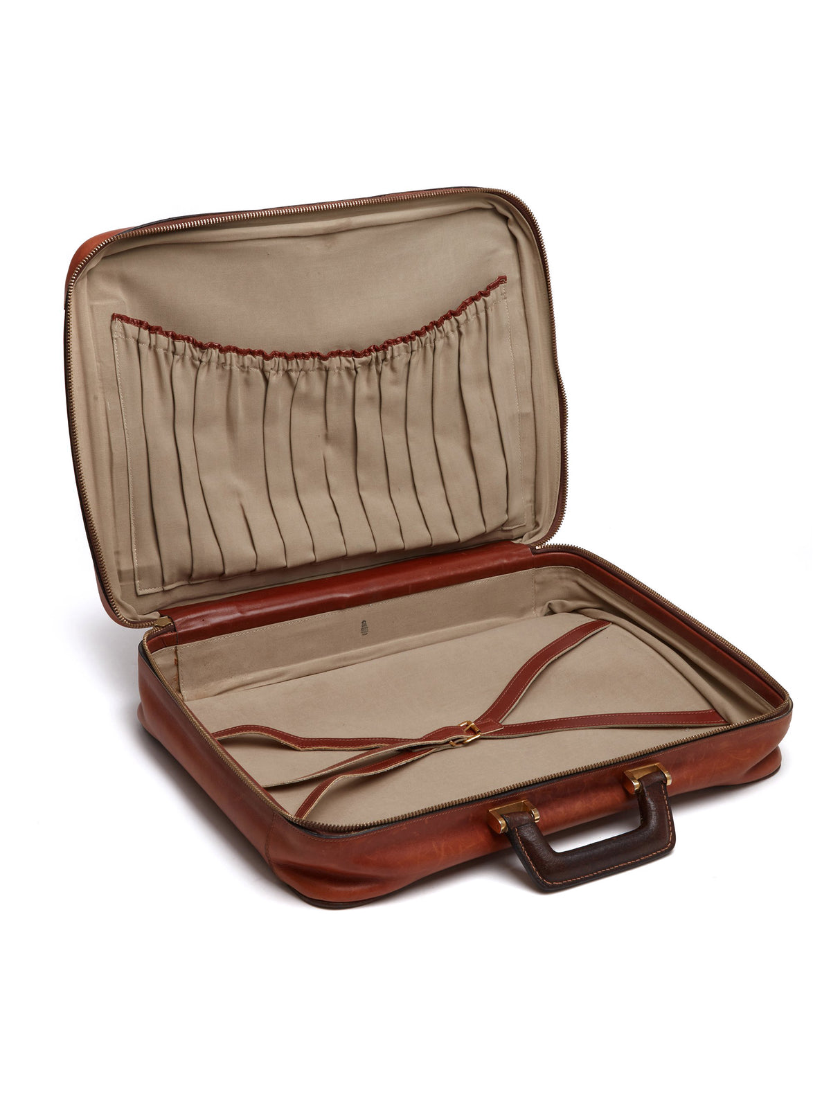 Mark Cross Vintage Leather Suitcase Chocolate Interior