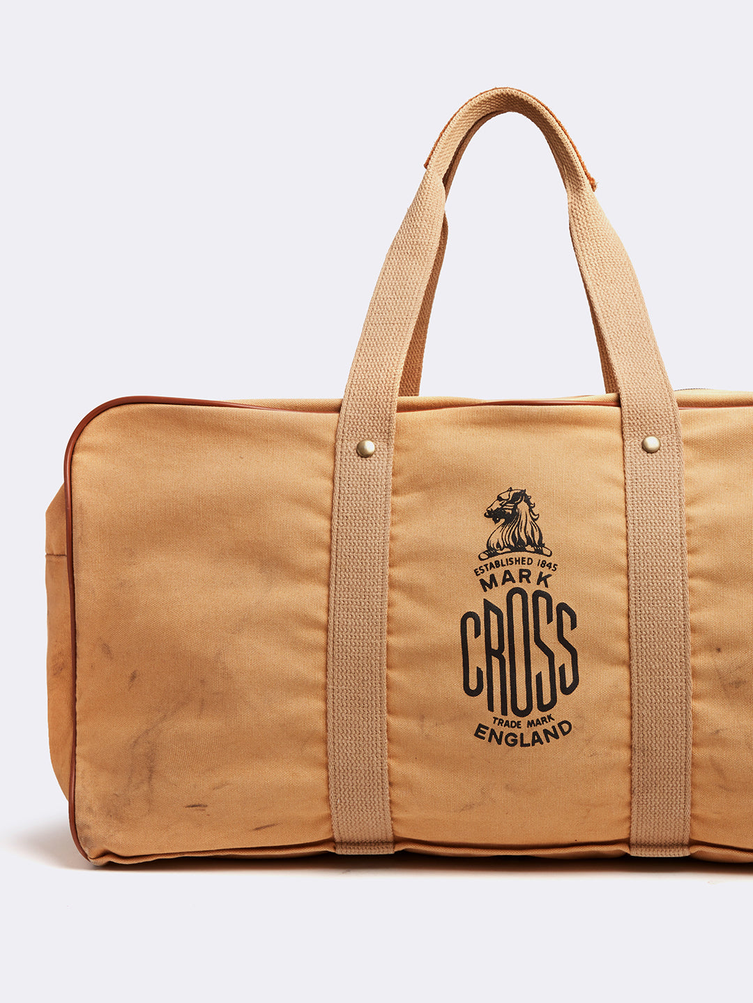 Mark Cross Archive Canvas Duffle Bag Tan Detail