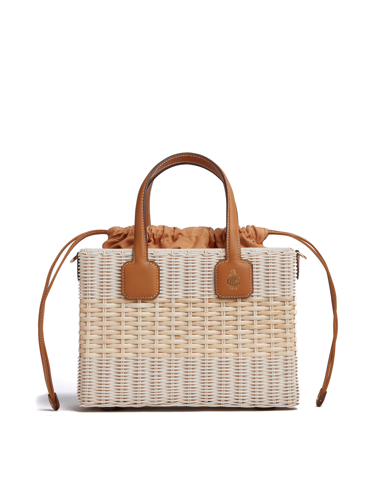 Manray Rattan & Leather Tote Bag Soft Calf Luggage / Bleach Rattan Front