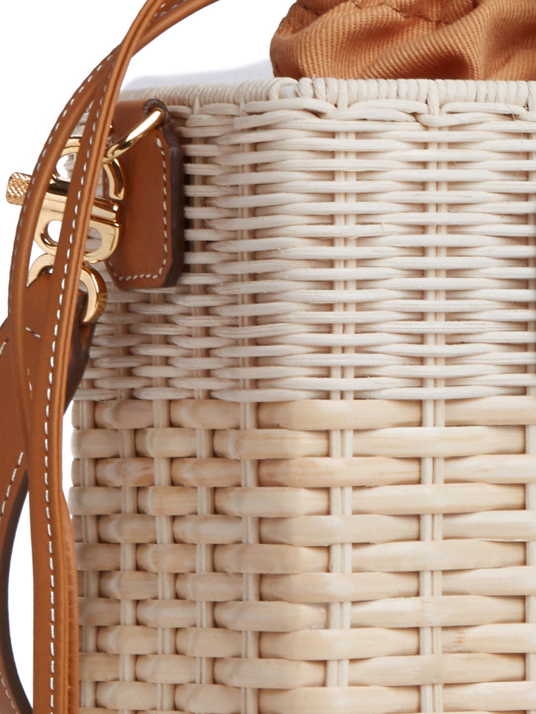 Manray Rattan & Leather Tote Bag Soft Calf Luggage / Bleach Rattan Detail