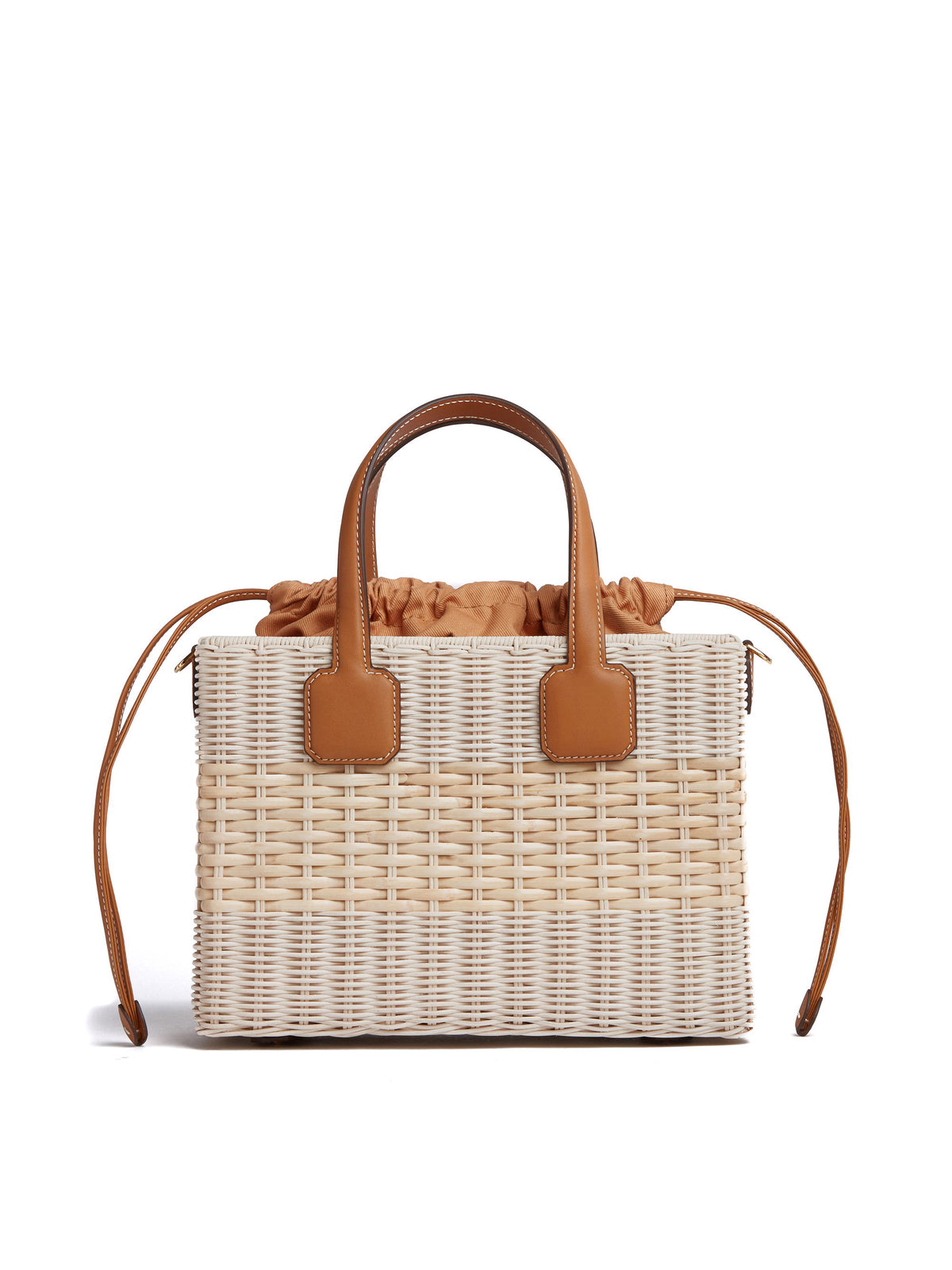 Manray Rattan & Leather Tote Bag Soft Calf Luggage / Bleach Rattan Back