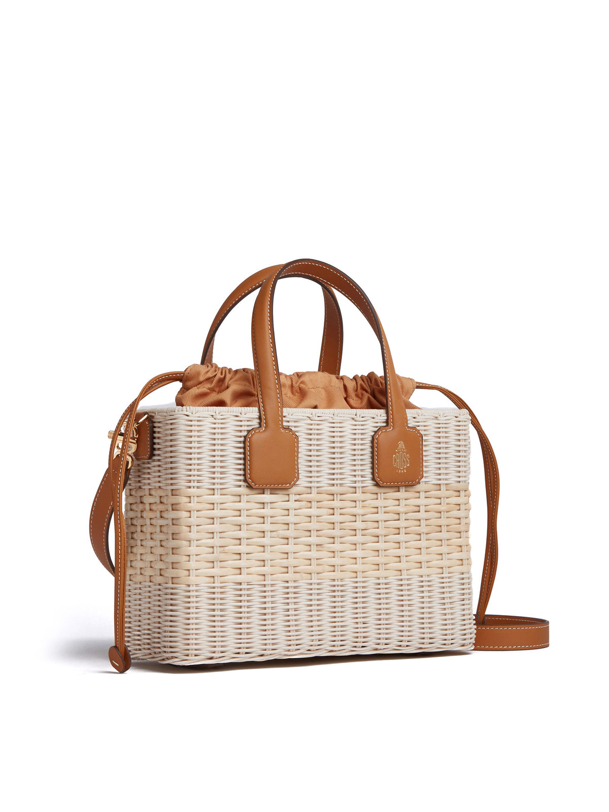 Manray Rattan & Leather Tote Bag Soft Calf Luggage / Bleach Rattan Side