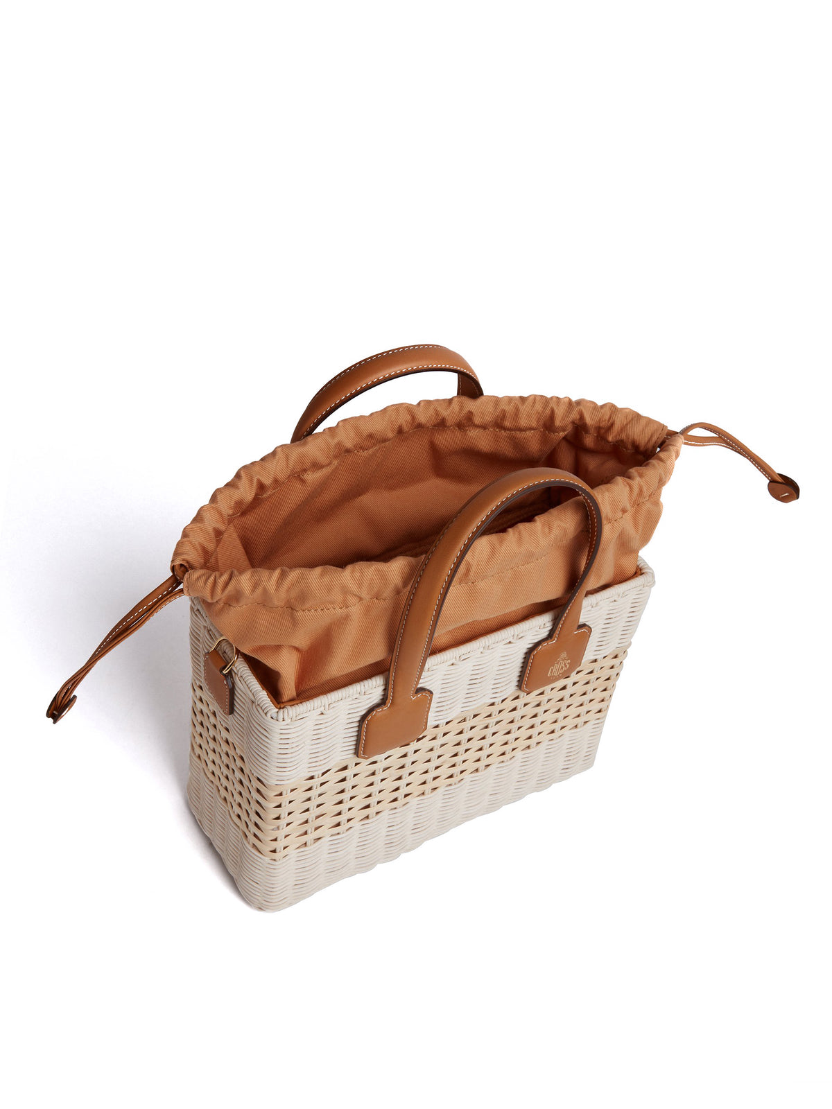Manray Rattan & Leather Tote Bag Soft Calf Luggage / Bleach Rattan Inside