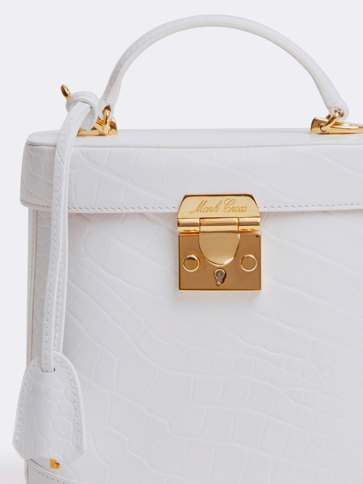 Mark Cross Benchley Leather Top Handle Bag Crocodile Stamped White Detail