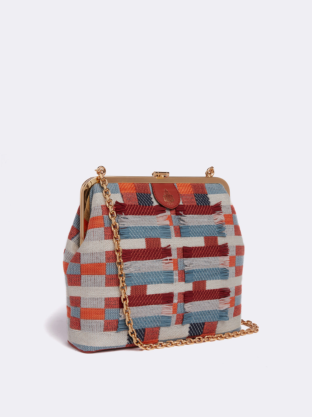 Susanna Handwoven & Leather Frame Pouch Bag