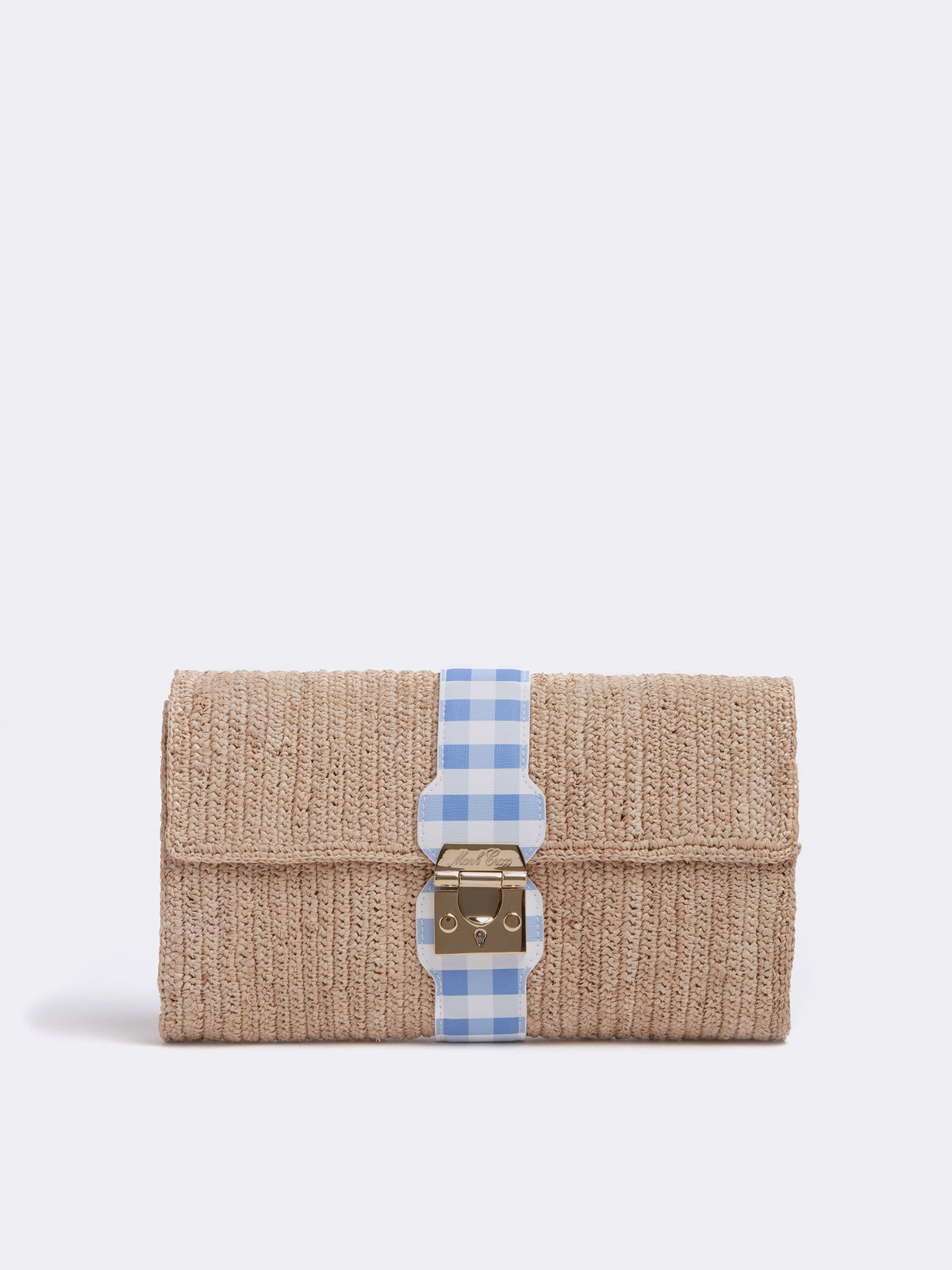 Mark Cross Sylvette Raffia & Leather Clutch Mini Franzi Gingham Regatta Blue / Natural Raffia Front