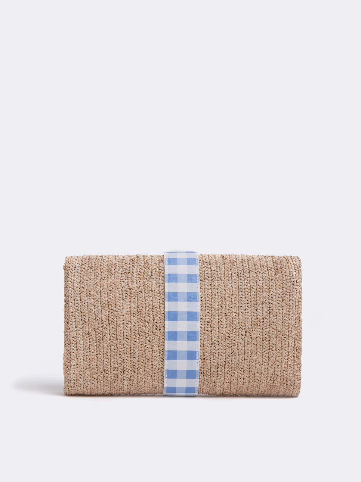 Mark Cross Sylvette Raffia & Leather Clutch Mini Franzi Gingham Regatta Blue / Natural Raffia Back