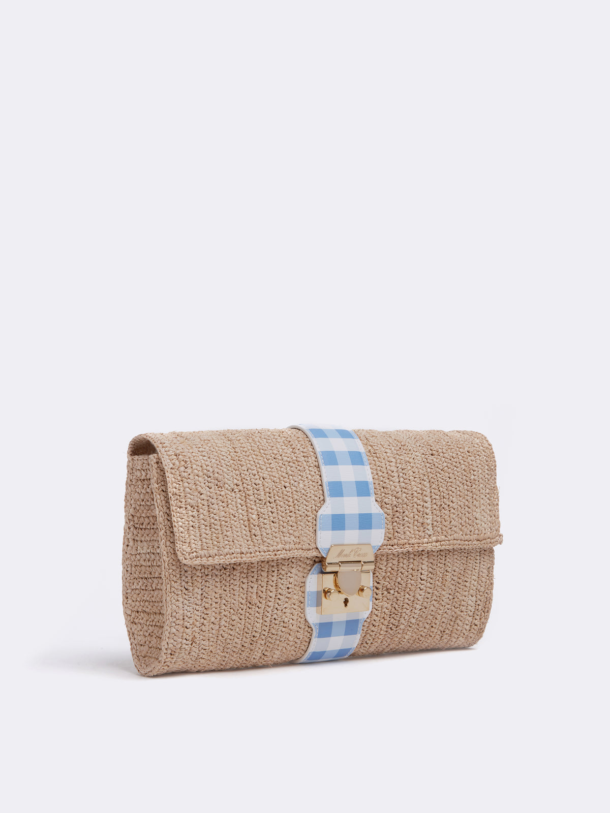 Mark Cross Sylvette Raffia & Leather Clutch Mini Franzi Gingham Regatta Blue / Natural Raffia Side