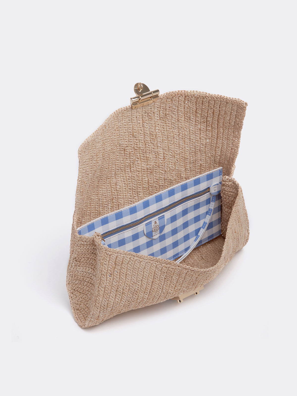 Mark Cross Sylvette Raffia & Leather Clutch Mini Franzi Gingham Regatta Blue / Natural Raffia Interior