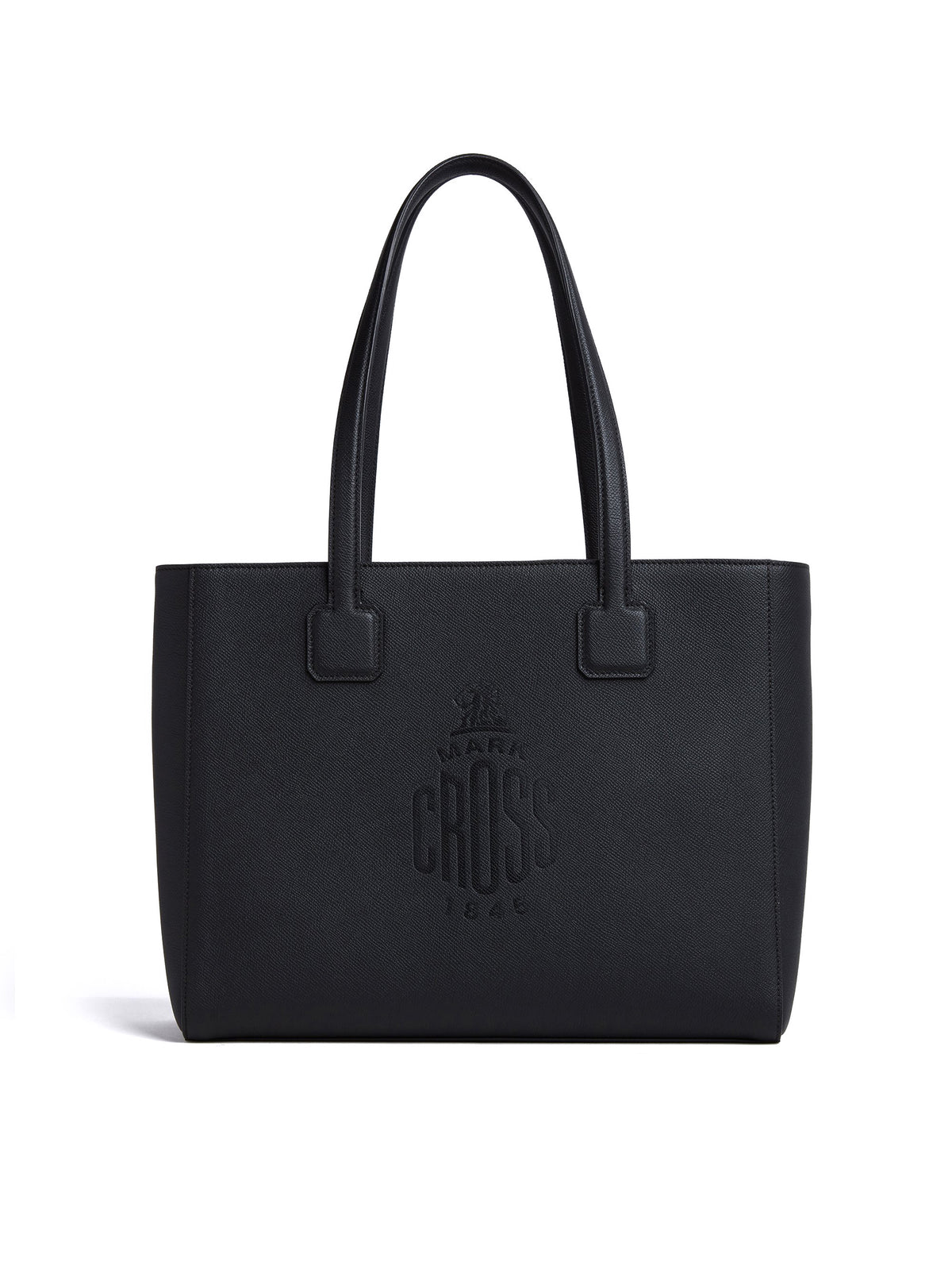 Mark Cross Cannes Leather Tote Bag Soft Saffiano Black Front