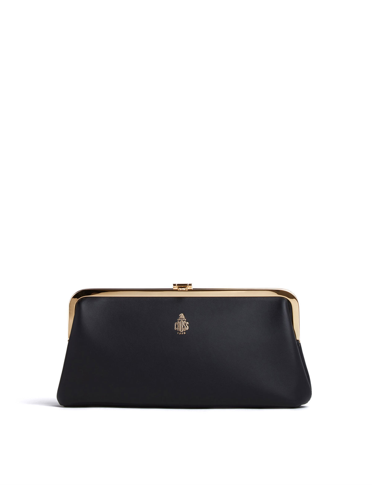 Mark Cross Susanna Leather Frame Clutch Nappa Black Front