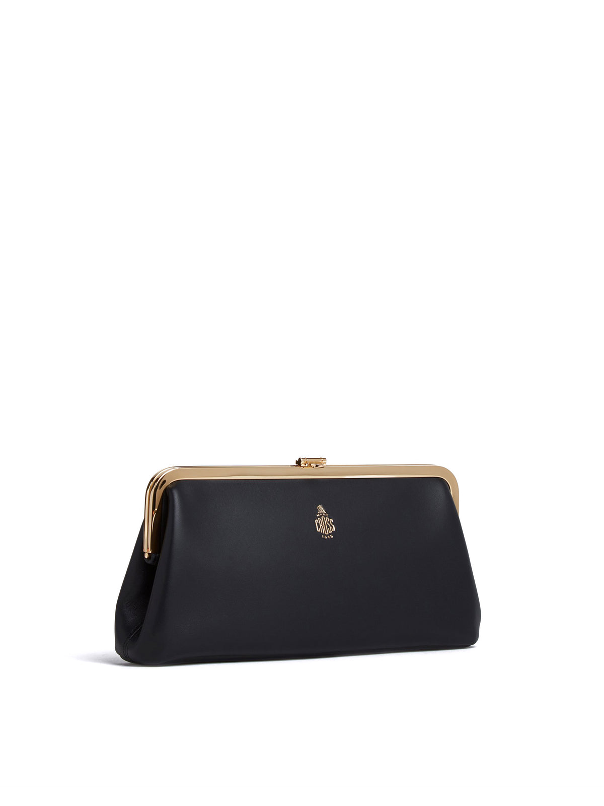 Mark Cross Susanna Leather Frame Clutch Nappa Black Side