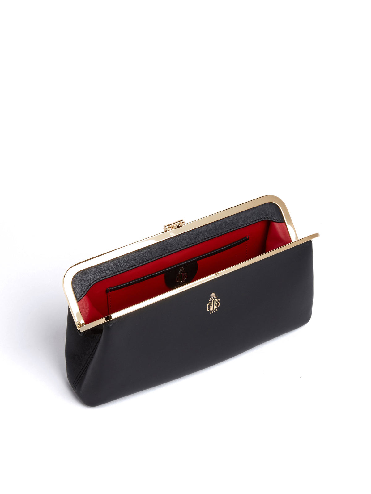 Mark Cross Susanna Leather Frame Clutch Nappa Black Inside