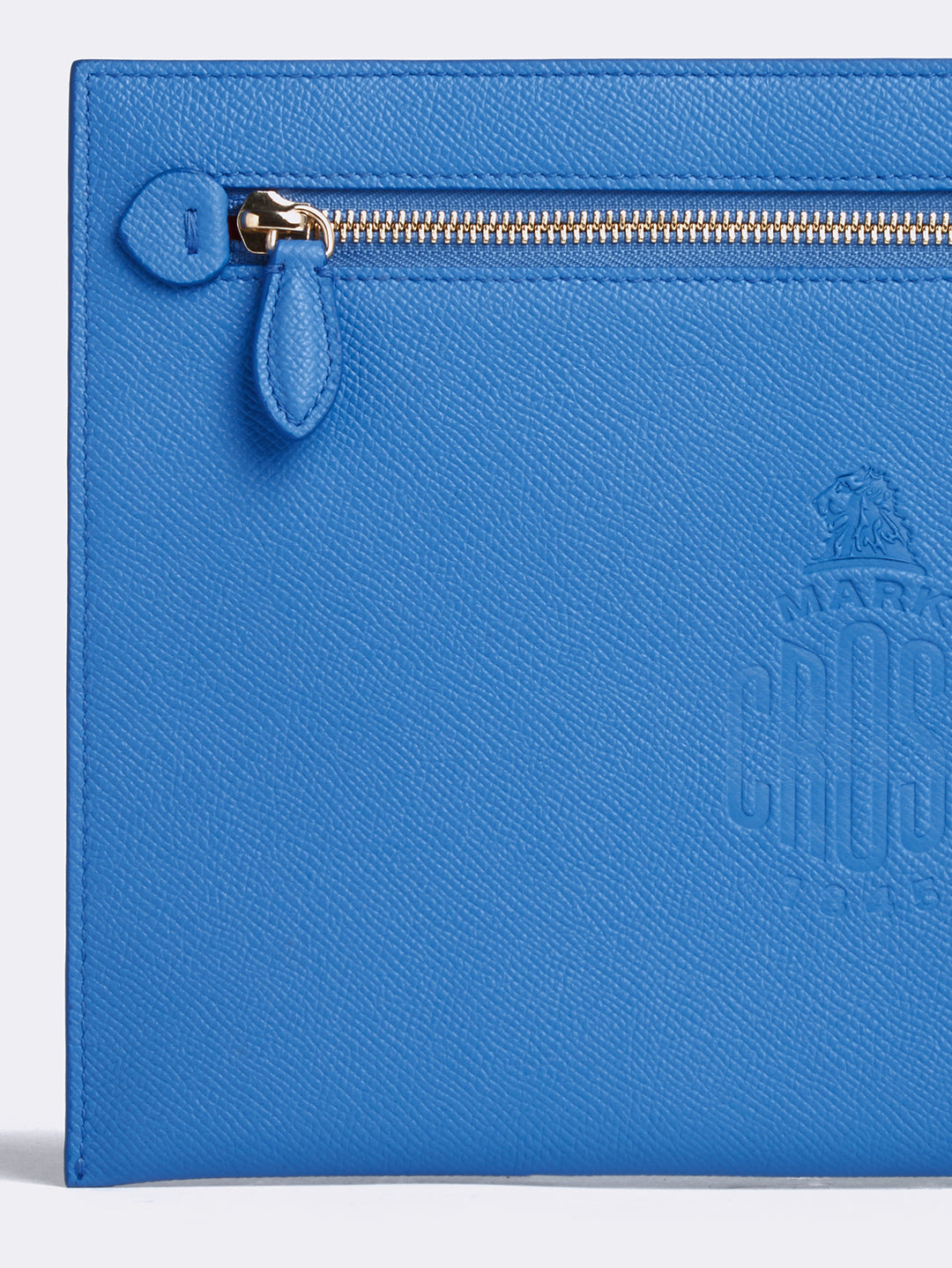 Mark Cross Donnelly Leather Pouch Soft Saffiano Regatta Blue Detail