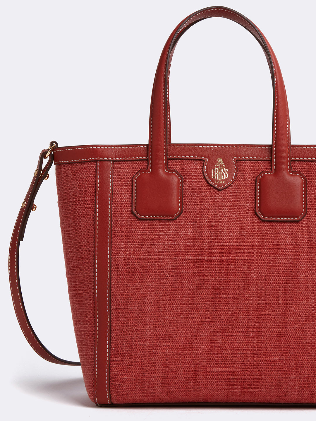 Mark Cross Antibes Small Linen & Leather Tote Bag Washed Linen Smooth Calf Picante Detail