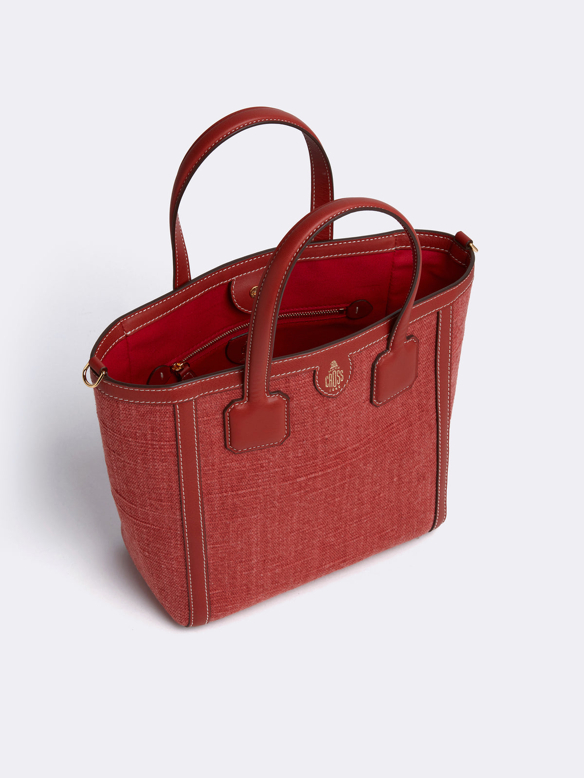 Mark Cross Antibes Small Linen & Leather Tote Bag Washed Linen Smooth Calf Picante Interior