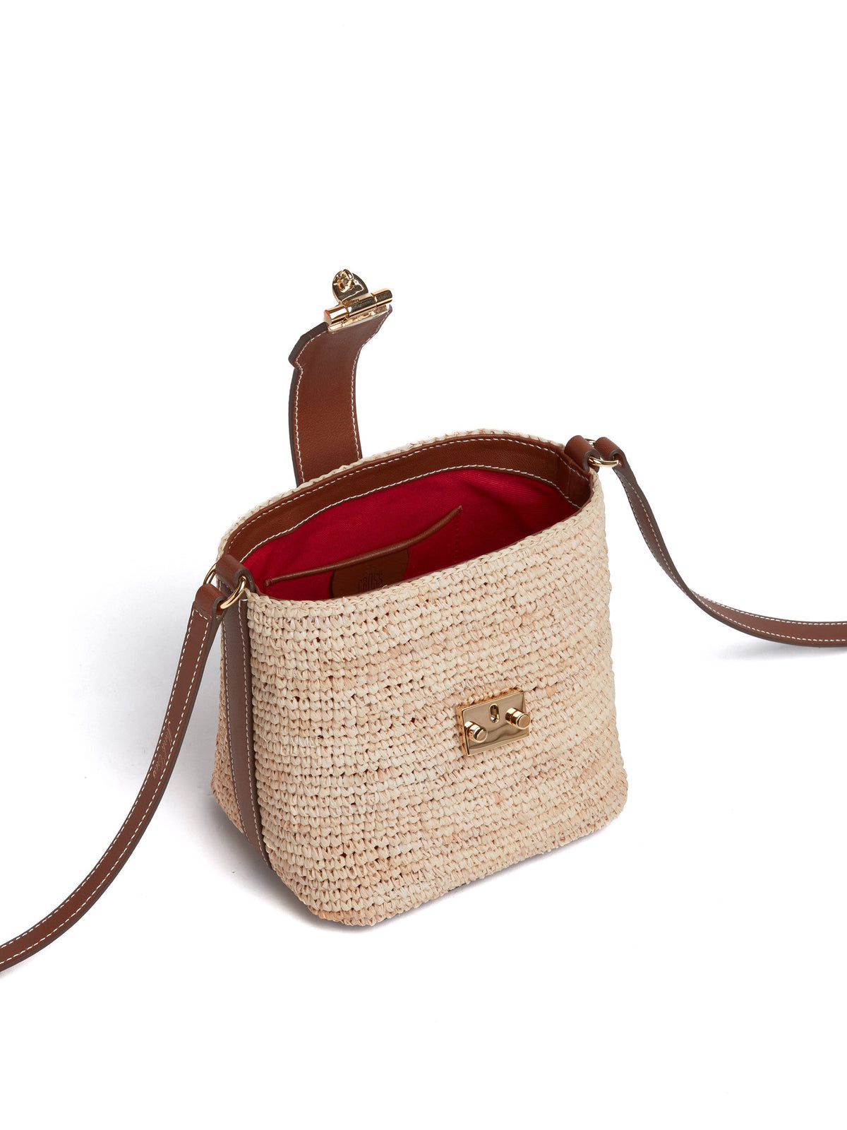 Murphy Mini Raffia & Leather Bucket Bag