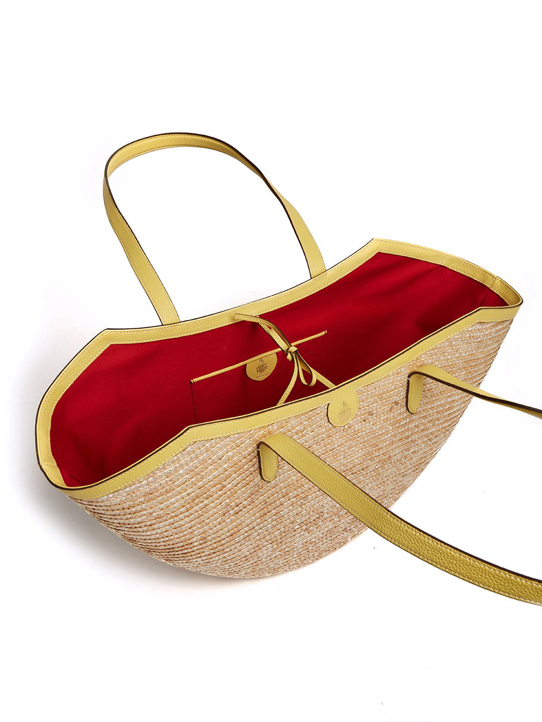 Madeline Large Straw & Leather Basket Bag