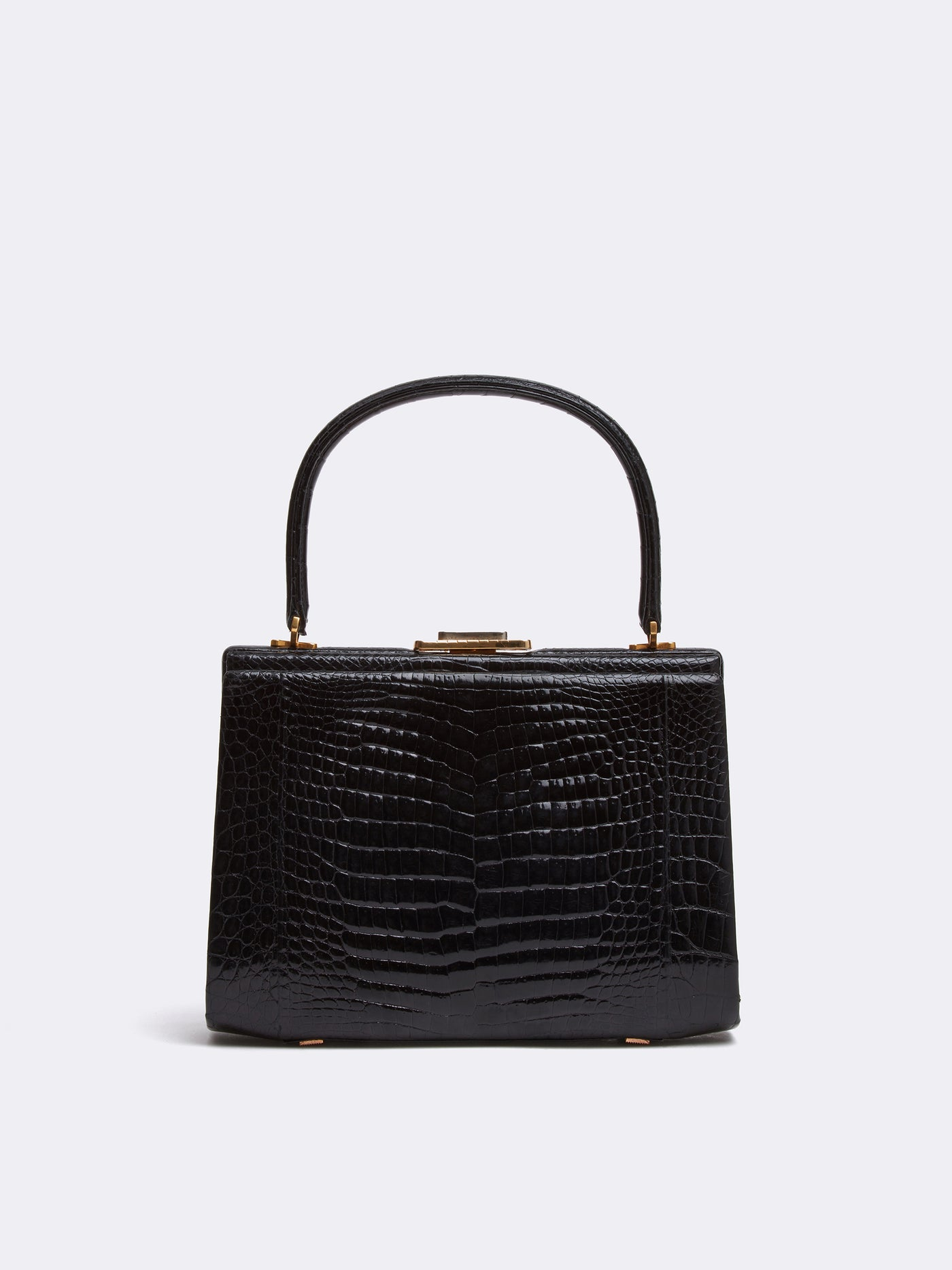 Mark Cross Archive Crocodile Top Handle Handbag Black Front