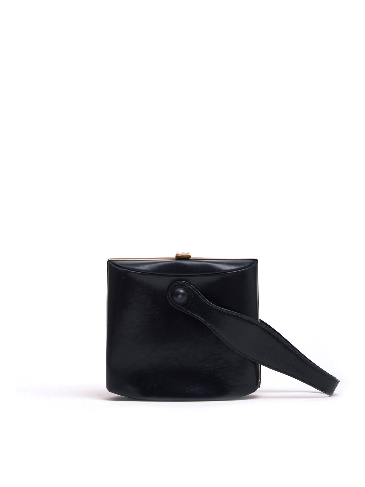 Mark Cross Archive Leather Top Handle Bag Black Front