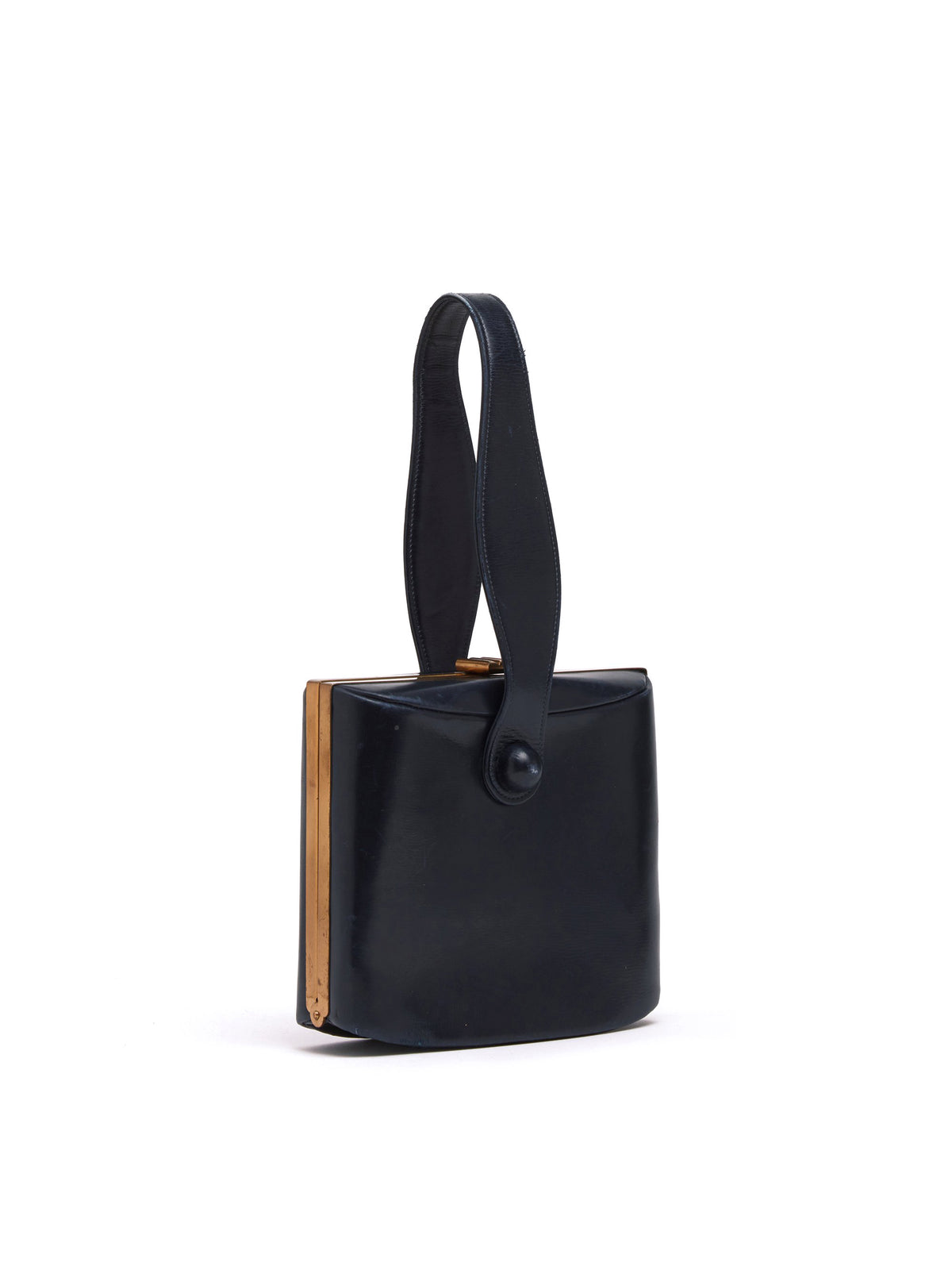 Mark Cross Archive Leather Top Handle Bag Black Side