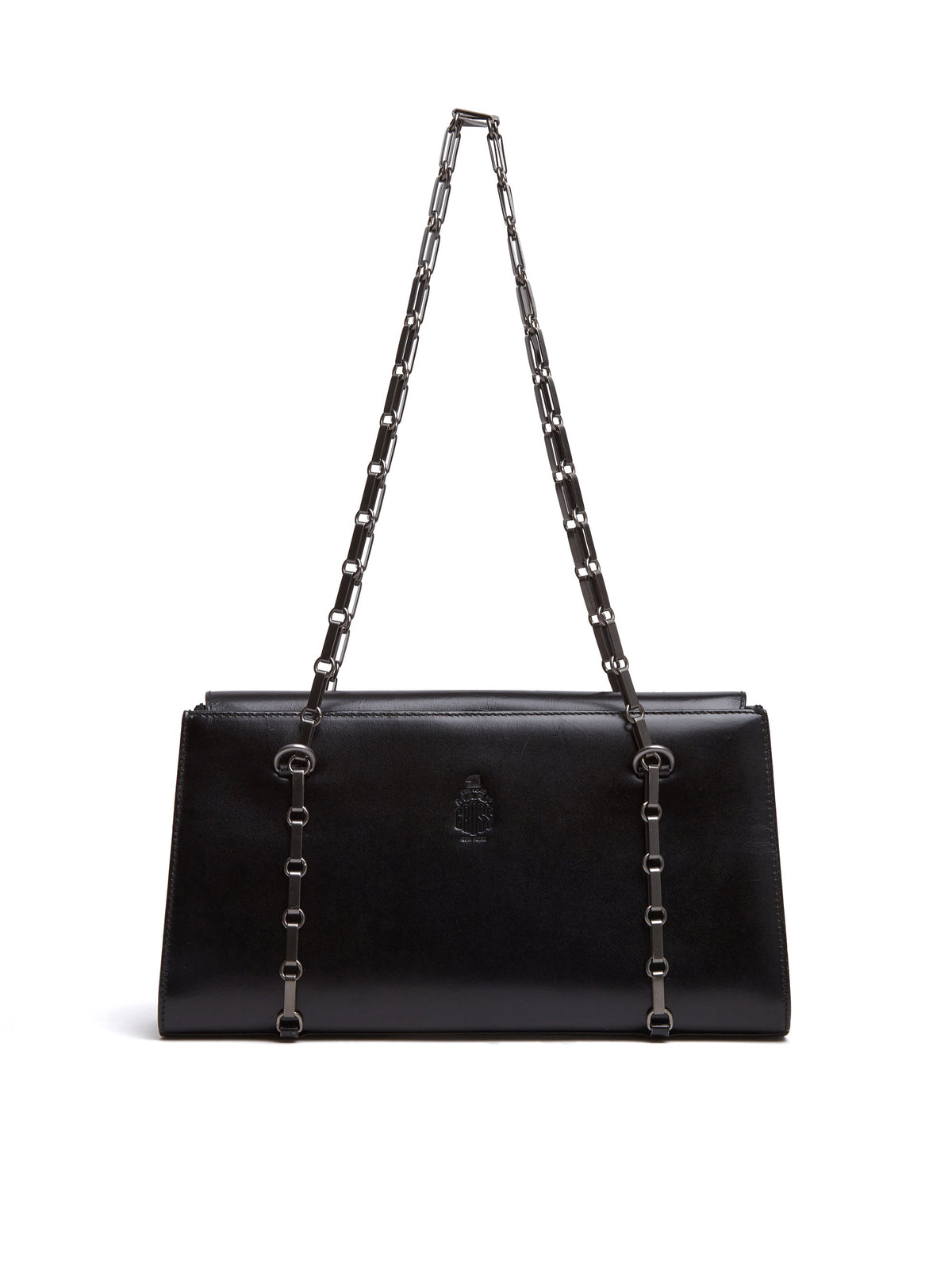 Mark Cross Vintage Leather Chain Strap Bag Black Front